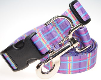 """Lavender Plaid Collar and Leash Combination - 1"""" Width"""