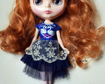 Blythe Party dress Lace Swans