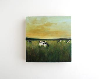 Farm Field Mixed Media Painting - 5 x 5