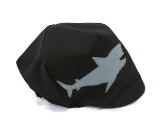 KIDS Black Hat with Grey Shark- Wee Dee Spring Cap- Baby, Toddler, Child or Kids  S M L