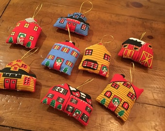 Set of 8  ornament fabric houses town christmas Vintage ornaments
