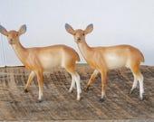 Two Vintage Plastic Deer or Doe Home Decor or Crafts