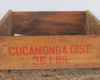 Vintage Paper Label Grape Wood Crate Cucamonga District