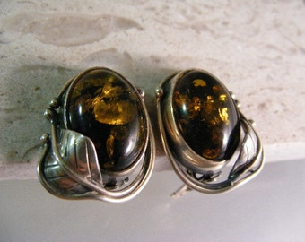 Vintage Glowing Greenish Golden Baltic Vining Amber Clip Earrings in Sterling..... Lot 5058