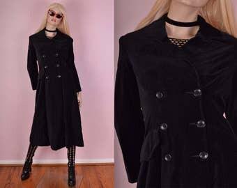 90s Black Velvet Coat/ US 4/ 1990s/ Jacket