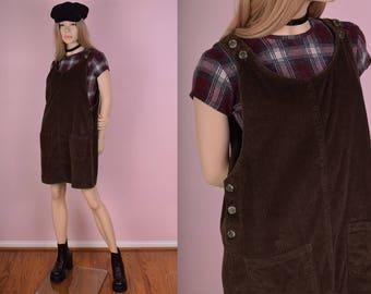 90s Brown Corduroy Jumper Dress/ Medium/ 1990s