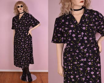 90s Floral Print Button Down Dress/ US 22/ 1990s/ Short Sleeve
