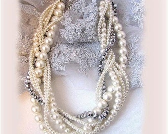 Wedding jewelry set, bridal jewelry set, bridesmaids jewelry set, twisted braided pearl necklace, bridal earrings, Ivory bridesmaid necklace