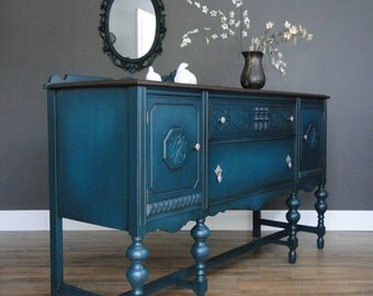 "Vintage Buffet, Sideboard, Entry Table Dark Teal, Turquoise With Dark Stained Top ""Tealicious"" Modern Vintage"