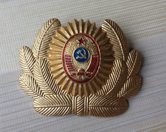 Vintage Soviet Russian Militia (Police) uniform cockade, badge.