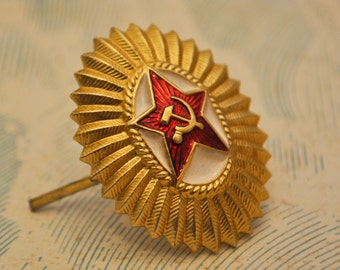 Vintage Soviet Russian Army Officer Cockade. USSR army uniform.