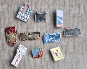 Set of 10 Vintage Soviet Russian badges,pins.