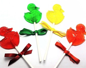 12  DUCK LOLLIPOPS with Matching Satin Ribbon - Baby Shower Favors, Easter Lollipops, Duck Party Favors