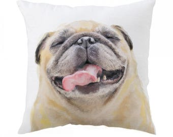 Pug Pillow 18x18 inch - Dog Puppy - Decorative Cushion Cover Accessories - Throw Pillow Cover - Whimsical, Cushion, Nursery