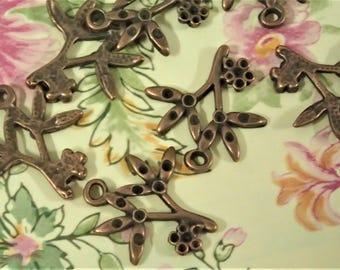 10/50/120pcs Antique Copper Flowers With Branches Charm/Pendant