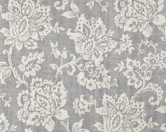 """Two  96"""" x 50""""  Custom Curtain Panels - Damask Floral - Grey - Bedskirt and Shams  Available"""