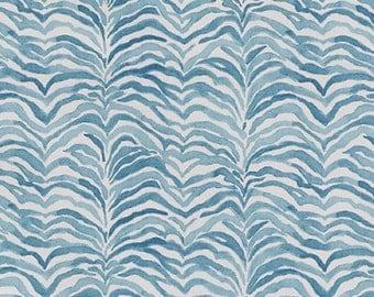 "Two 96""L x 50""W Custom Lined  Curtain Panels   - Lacefield Serengeti Seaside Blue"
