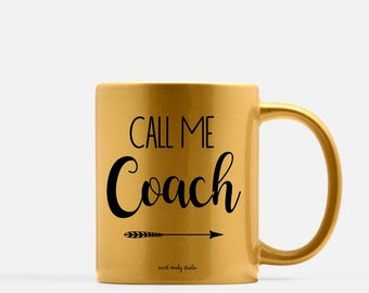 Coach Coffee Mug (Gold, Silver or Pink Option) . Ceramic Mug . Personalized Mug . Mom Mug . Gold Mug . Silver Mug . Coach Mug