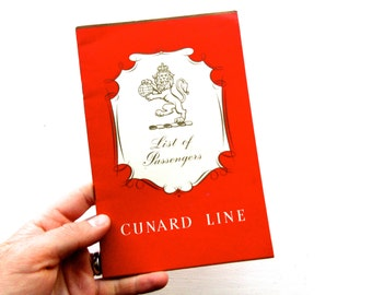 Vintage Nautical 1950s Cunard Line List of First Class Passengers Book
