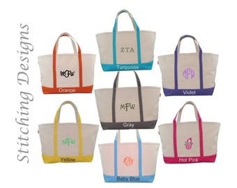 Monogrammed Tote, LARGE Boat Tote, Bridesmaid Tote Bag, Beach bag, Zip closure, Extra heavy canvas, 7 Colors available