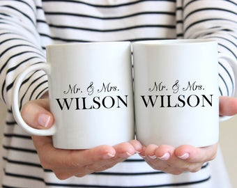 Mr. & Mrs. Mug, Mug Set, Anniversary Mug, Engagement Mug, Newlywed Mug, Personalized Mug, Wedding Gift, Coffee Mug, Coffee Lover