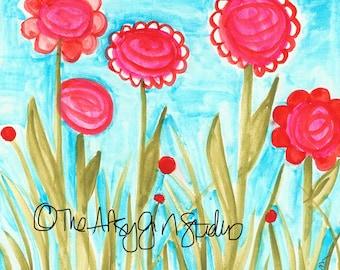 Field of flowers 8x8 Art Print