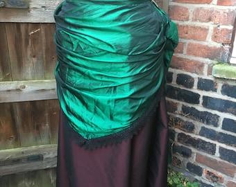 """Emerald green shot taffeta bustle skirt (35"""" waist)"""