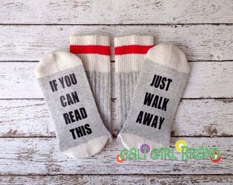 Just Walk Away Socks, FAST SHIP, Socks, Bring Me Socks, Custom socks, Sayings Socks, Novelty Socks, Christmas Socks, Stocking Stuffers, Gift