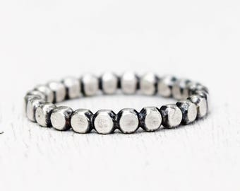 Size 6 - Hammered Ball Bead Sterling Silver Ring - Simple - Blackened Silver Ring - Oxidized Silver - Girlfriend  - Mom - Bohemian - Boho