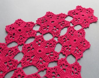 Vintage Crochet Doily Raspberry Pink Doilies Rhombus Doily Bright Pink Vintage Doilies Hand Crocheted Doily Cotton Doilies Lace Doilies