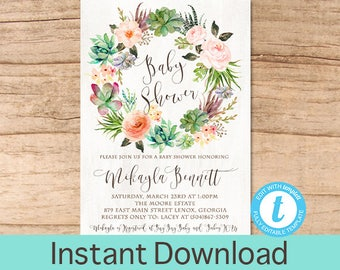 Baby Shower Invitation Watercolor, Succulent Floral Wreath Baby Shower invitation, Watercolor Floral Invitation, Instant Download