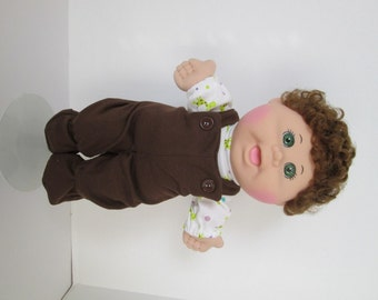 "14"" Baby Boy Cabbage Patch Brown Footed Bib Overalls with Giraffe Print Shirt"