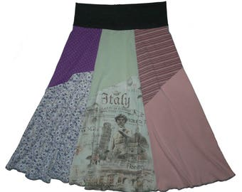 Boho Hippie Skirt Longer Style XS Small Women Size 0 2 4 Upcycled Recycled Clothing Repurposed T-Shirt Skirt Twinkle Skirts Twinklewear