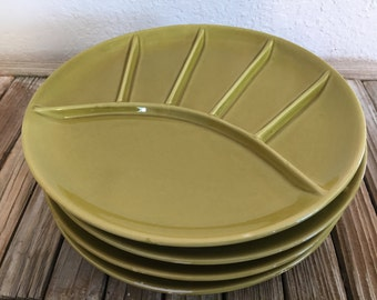 Set of 4 Mid Century Green Plates Made In Japan