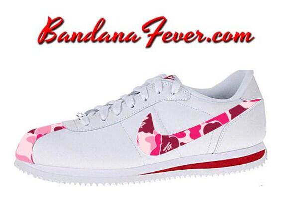 on sale a7636 9eb14 Bandana Fever - Nike Custom Bape Pink Camo Nike Cortez Leather WhiteRed  FREE ...