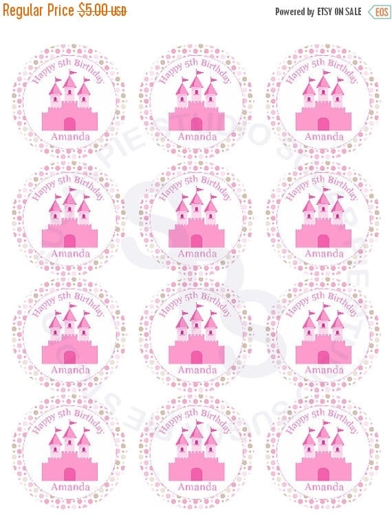 ON SALE Princess Mix and Match 2 inch circle Cupcake toppers or tags Printable Personalized Digital File DIY