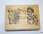 Diamonds rubber stamp - Breakfast Couple - F677 - Vintage - 1997 - Temecula CA - Crafting - Supplies