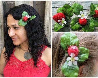 Realistic strawberry hair clip, OOAK, strawberries hair flower, berry hair clip