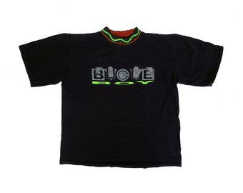Rad 80s Neon Bugle Boy Patterned Collar Stretched Logo T-Shirt - L