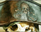 Brown Leather Tricorn Hat with Skull n Bones
