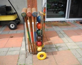 Wooden Croquet Set Complete.  Primitive Lawn Croquet Set with stand