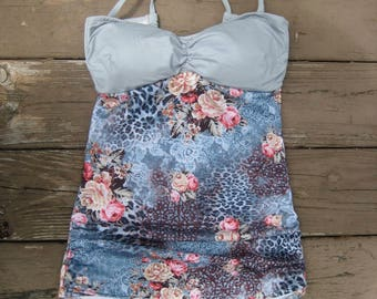 Vintage Floral Retro Swimsuit w/ Grey top