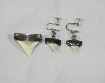 Vintage Sterling silver Capped Shark Teeth Earrings and Brooch Pin