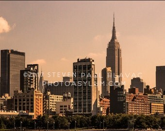 New York City Skyline Great Architectural View Of Downtown Manhattan From The Hudson River Signed Fine Art Photograph NYC