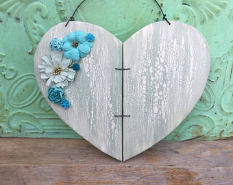 Green and Ivory Crackled Heart Hanger, Embellished Wooden Heart, Home Decor Heart Hanger