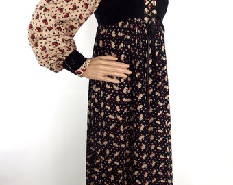 Beautiful 70s Autumnal Cotton And Velvet Maxi dress by Marion Donaldson