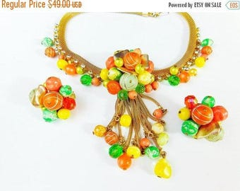 Spring Fling Sale Vintage 50s citrus colored beads with rhinestones on  gold mesh tassel necklace and earring set