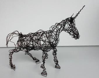 Unique Wire Horse Sculpture - UNICORN - Free USA Shipping