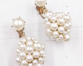 Vintage Pearl Cluster Drop Earrings, Faux Pearl Clip On Earrings, Wedding Jewelry with Pearls, Can be Converted to Pierced