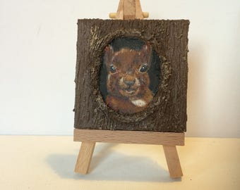 Miniature red squirrel in a tree acrlyic canvas painting